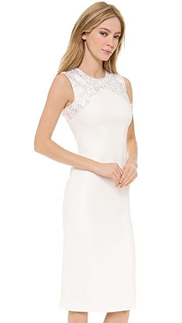 Monique Lhuillier Sheath Dress with Lucite Embroidery