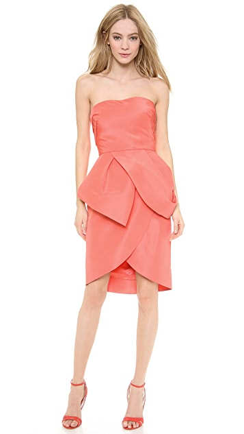 Monique Lhuillier Strapless Peplum Cocktail Dress