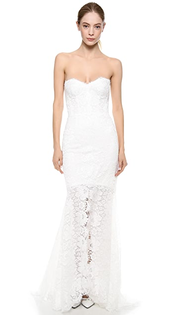 Monique Lhuillier Chloe Chantilly Trumpet Gown