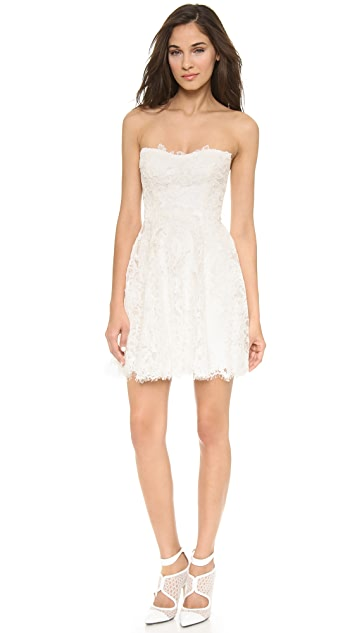 Monique Lhuillier Flirt Lace Mini Dress