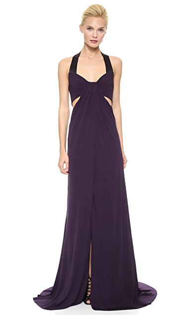 Monique Lhuillier Halter Draped Gown