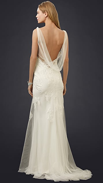 Monique Lhuillier Sylvie Cowl Neck Slip Gown