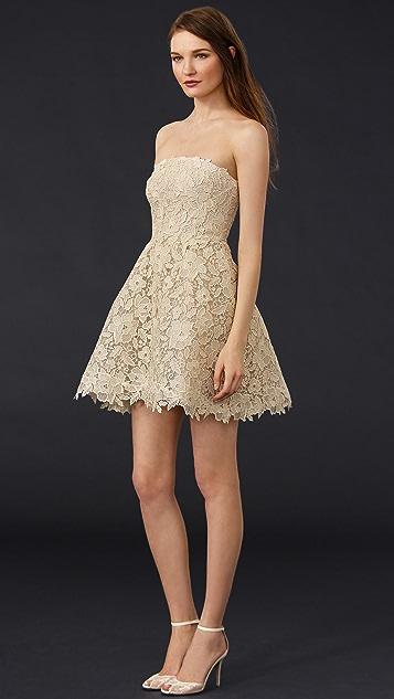 Monique Lhuillier Bellini Strapless Mini Dress
