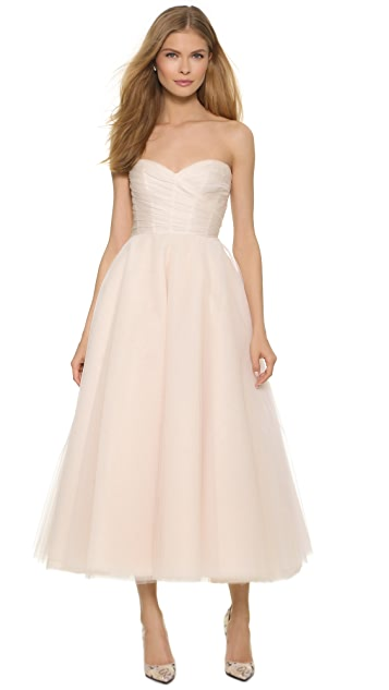 Monique Lhuillier Sloane Strapless Tea Length Dress
