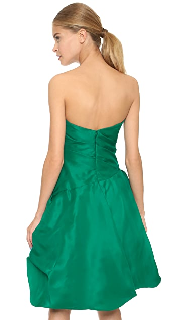 Monique Lhuillier Strapless Dress with Bubble Hem