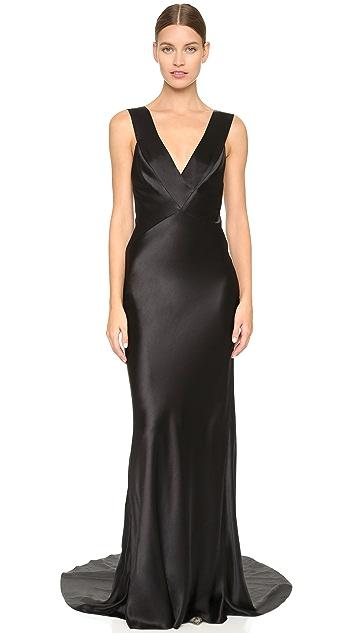 Monique Lhuillier Sleeveless V Neck Gown