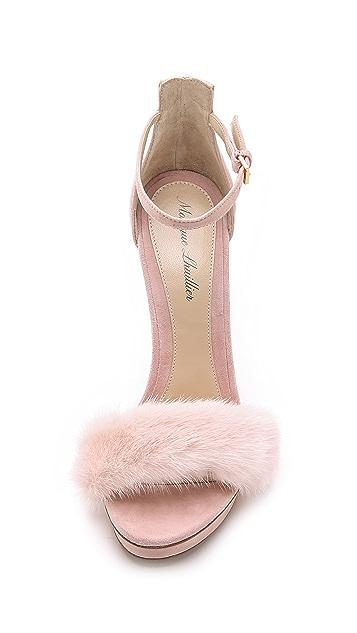 Monique Lhuillier Marlowe Fur Sandals