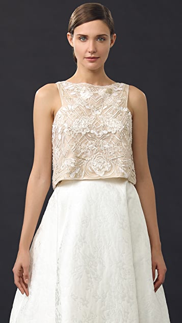 Monique Lhuillier Sleeveless Crop Top