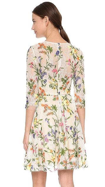 Monique Lhuillier Embroidered Lace Dress