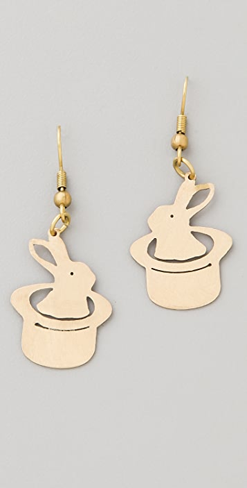Monserat De Lucca Rabbit in Magic Hat Earrings