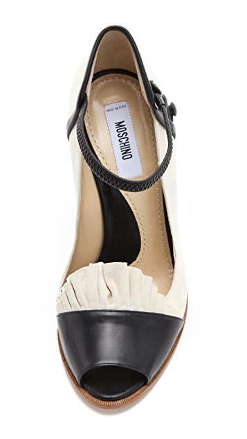 Moschino Suede Open Toe Pumps