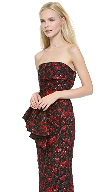 Moschino Strapless Jacquard Gown