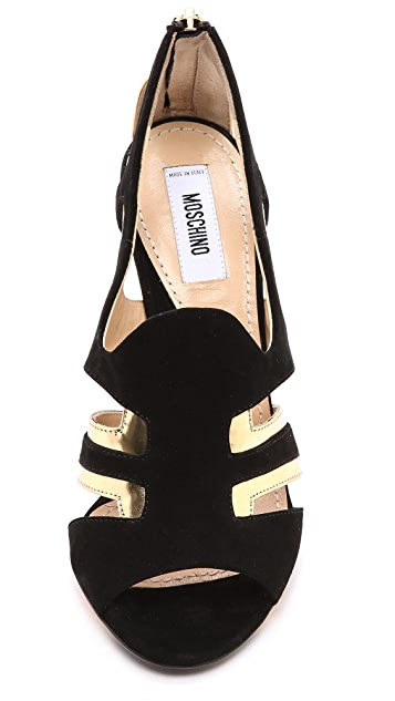 Moschino Leather Peep Toe Sandals