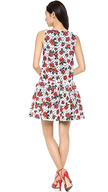 Moschino Organza Flower Drop Waist Dress