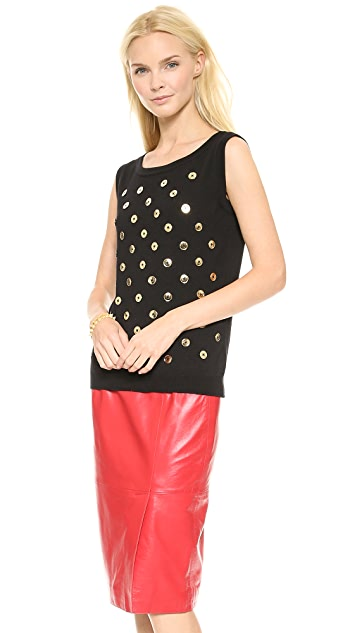Moschino Button Polka Dot Shell Top