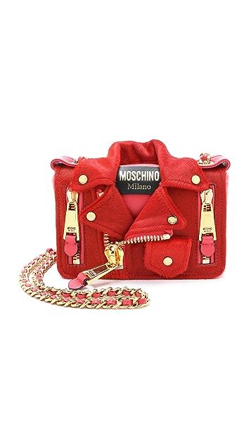 Moschino Haircalf Motorcycle Bag