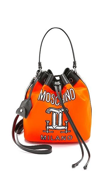 Moschino Printed Nylon Bucket Bag