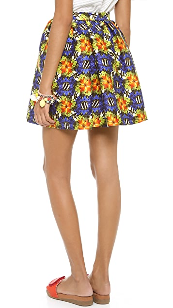 Mother of Pearl Printed Satin Skirt