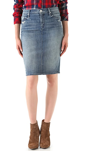 MOTHER Pegged Denim Skirt