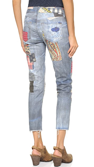 MOTHER The Digital Printed Skinny Not Skinny Fray Jeans