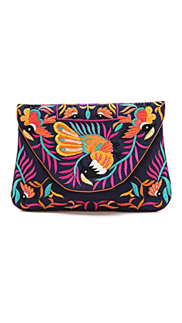 MOYNA Large Bird Embroidered Clutch