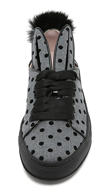 Minna Parikka Polka Dots Sneakers with Fur Tail