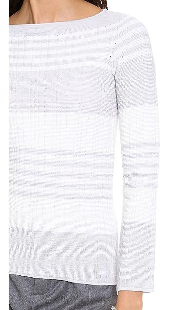 M.PATMOS Ottoman Stripe Boat Neck Sweater