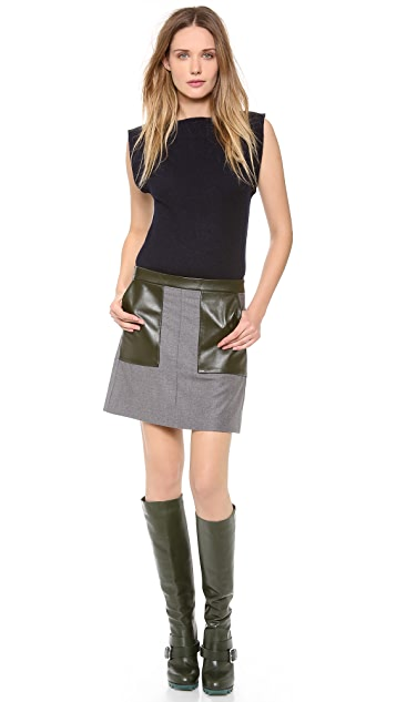 M.PATMOS Leather Trimmed Miniskirt