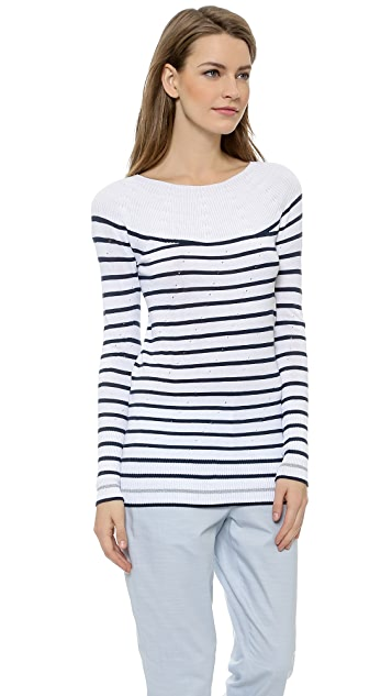 M.PATMOS French Stripe Boat Neck Sweater
