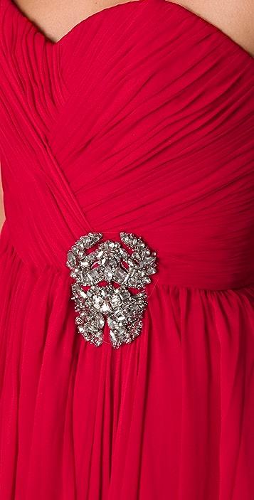 Marchesa Draped Strapless Dress with Full Skirt