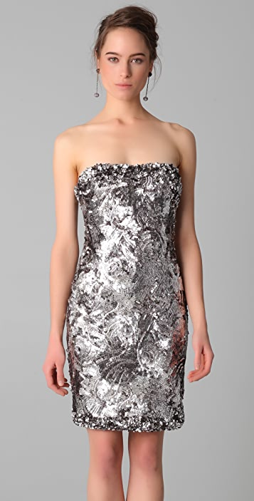 Marchesa Sequined Strapless Dress
