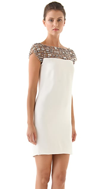 Marchesa Silk Crepe Dress with Beaded Neckline