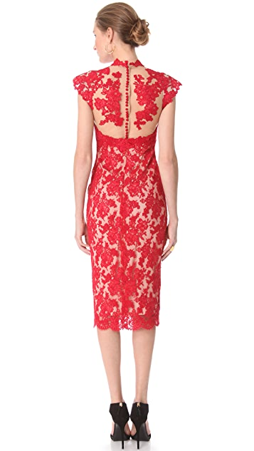 Marchesa Lace Sheath Dress