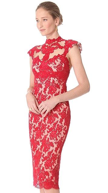 Marchesa Lace Sheath Dress