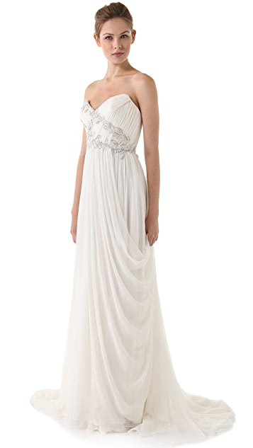 Marchesa Strapless Draped Dress with Embroidered Bodice