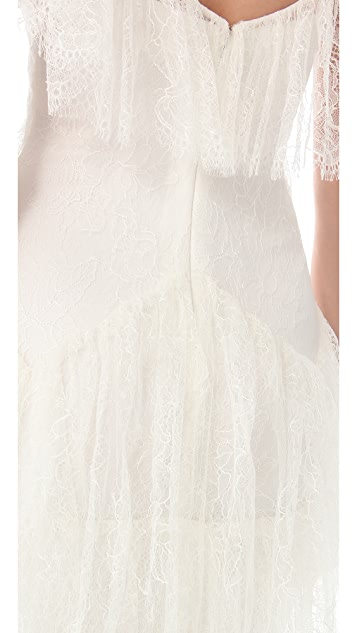 Marchesa Ruffle Sleeve Lace Dress
