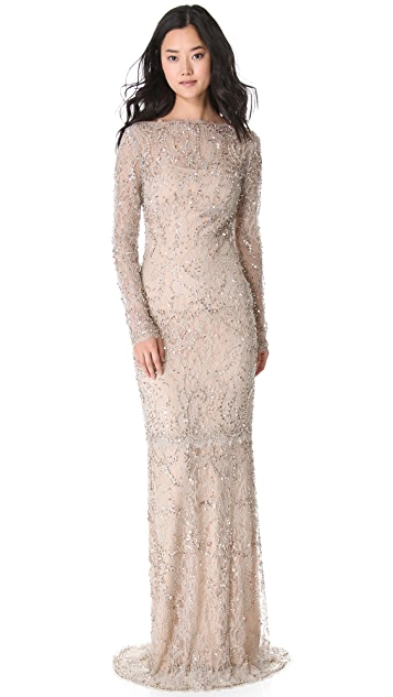 Marchesa Beaded Lace Gown