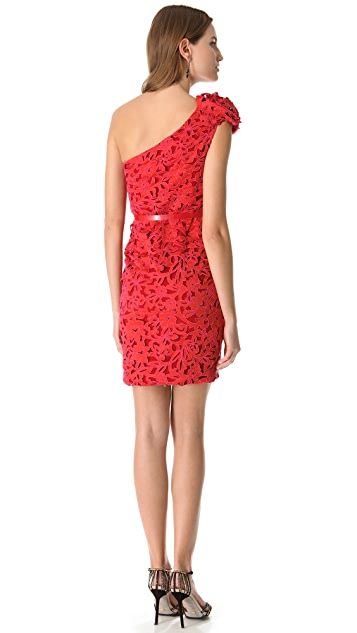 Marchesa Laser Cut Cocktail Dress