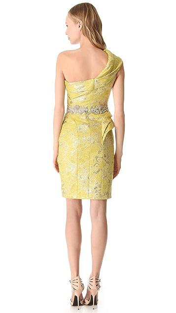 Marchesa One Shoulder Cocktail Dress