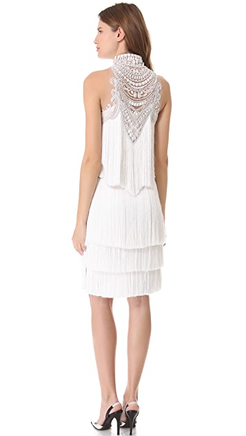 Marchesa Tiered Tassel Cocktail Dress