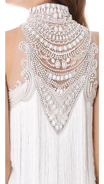 Marchesa Tiered Tassel Cocktail Dress