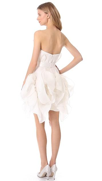 Marchesa Sculptural Strapless Dress