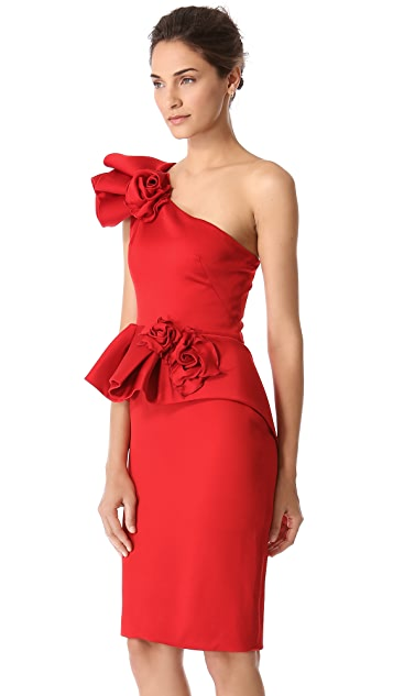 Marchesa Peplum Dress with Roses