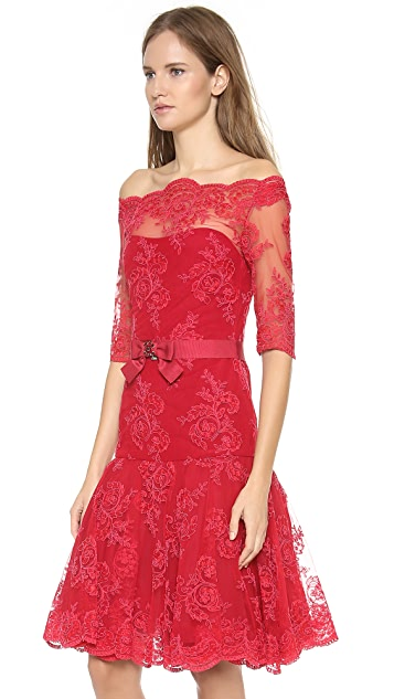 Marchesa Corded Lace Cocktail Dress