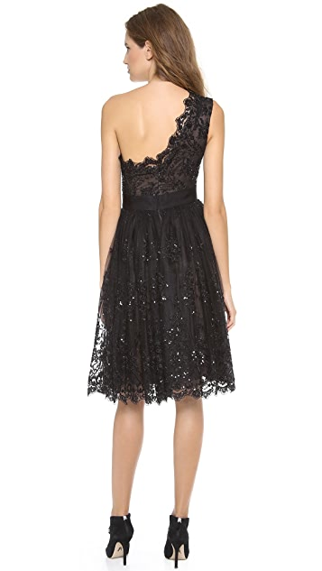 Marchesa One Shoulder Lace Dress