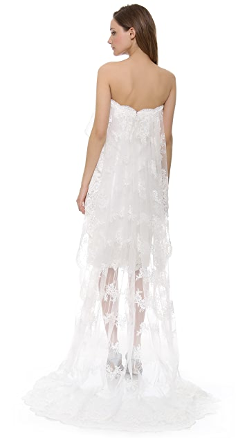 Marchesa Strapless Lace Dress with Cascading Cape and Train