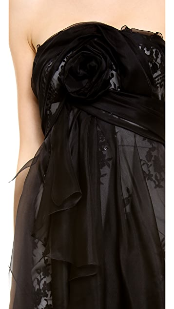 Marchesa Re-embroidered Lace Strapless Dress