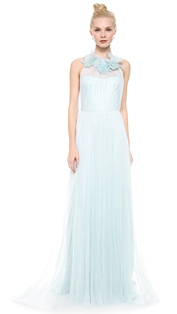 Marchesa Draped Tulle Sleeveless Gown