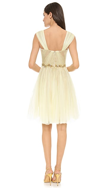 Marchesa Lace & Pleated Tulle Dress