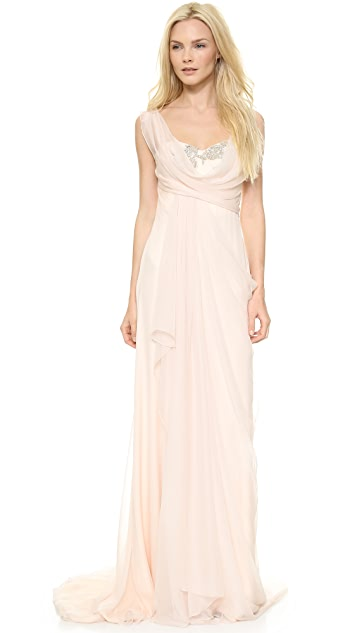 Marchesa Silk Chiffon Corseted Gown